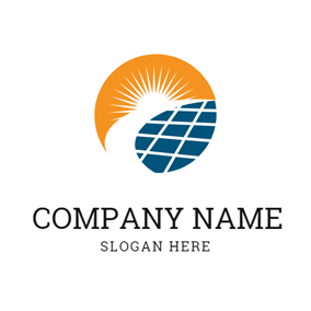 Sun and Solar Panel Icon logo design