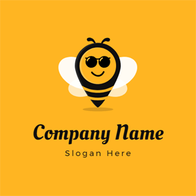 Sunglasses and Cartoon Bee logo design