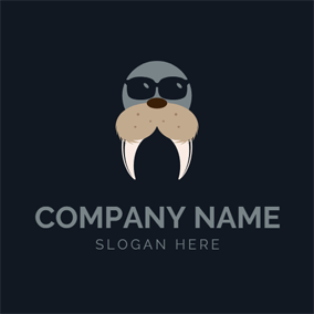 Sunglasses and Seal Head logo design