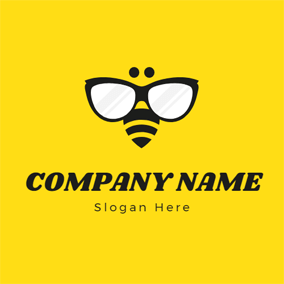 Sunglasses and Simple Bee logo design