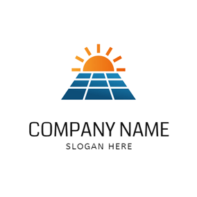 Sunset and Solar Panel logo design