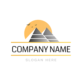 Sunset Background Pyramid Scenery logo design