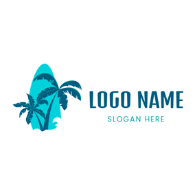 Surfboard and Palm Tree logo design