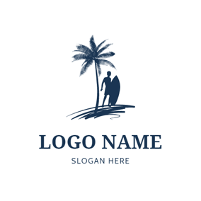 Surfer and Palm Tree logo design