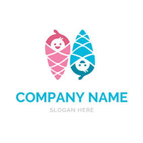 Swaddle Baby Cute Twins logo design