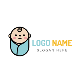 Swaddling Clothes and Cute Baby logo design