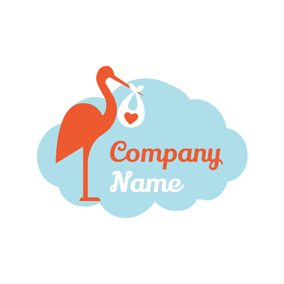 Swaddling Clothes and Stork logo design