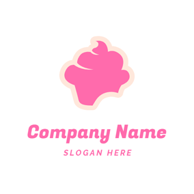 Sweet Pink Cake Icon logo design