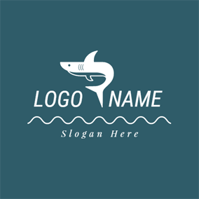 Swimming White and Blue Shark logo design