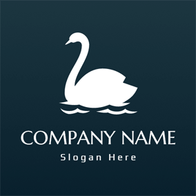 Swimming White Swan logo design