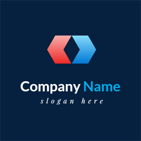 Symmetrical Red and Blue Polygon Company logo design