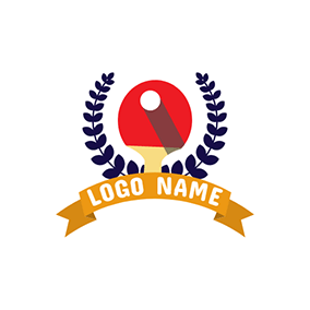Table Tennis Bat and White Ball logo design