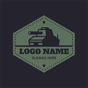 Tank and Hexagon logo design