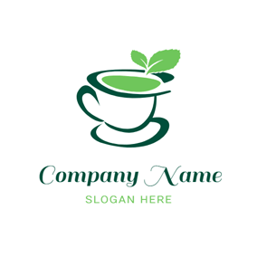 Tea Cup and Mint Leaf logo design