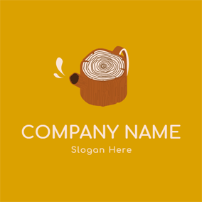 Teapot Shape and Wood logo design