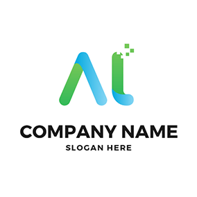 Tech and Simple Letter A T logo design