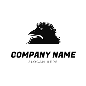 Terrible Black Raven Head logo design