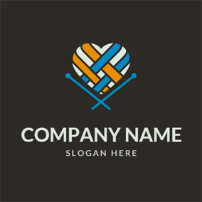 Textile Heart and Knitting Needle logo design