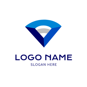 Three Dimensional Sector and Wifi logo design