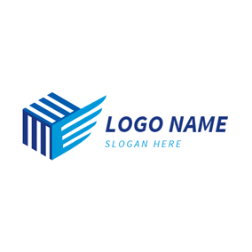 Three Dimensional Square and Wing logo design