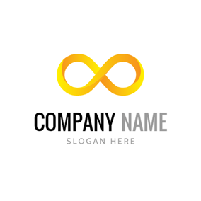 Three Dimensional Yellow Infinity logo design
