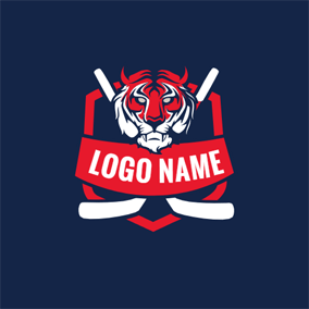 Tiger Head and Hockey Stick logo design