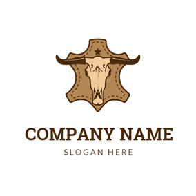 Toro Head and Brown Leather logo design