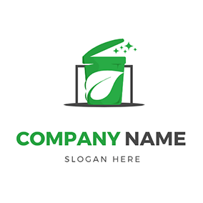 Trash Can and Rectangle logo design