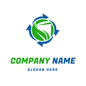 Trash Logo With Circulation Icon logo design