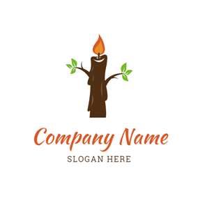 Tree Trunk and Candle logo design