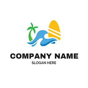 Tree Water and Surfboard logo design