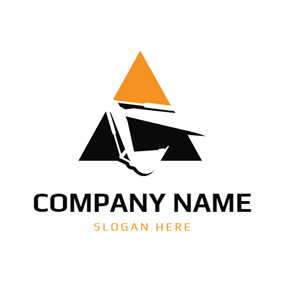 Triangle and Abstract Excavator logo design