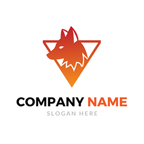 Triangle and Fox Head Icon logo design