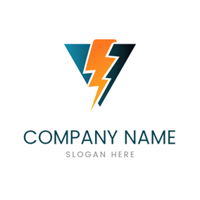Triangle and Lightning Power logo design