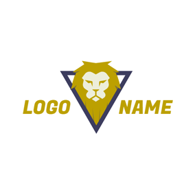 Triangle and Lion Head logo design