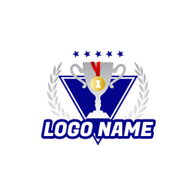 Triangle Badge and Tournament Trophy logo design