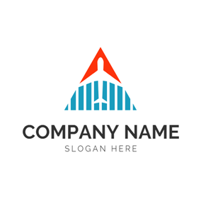 Triangle Shape and Airplane logo design