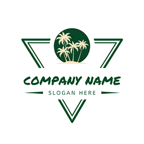 Triangle Sun Coconut Tree logo design