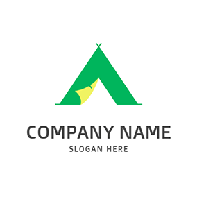 Triangle Tent Letter A A logo design