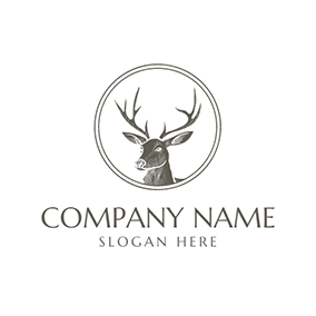 Tribal Deer Head Badge Icon logo design