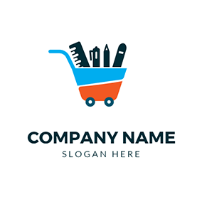Trolley Ruler Pen and Stationery logo design