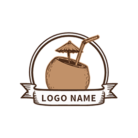 Tropical Coconut Juice logo design