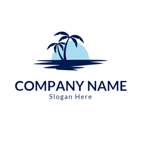 Tropical Landscape and Blue Ocean logo design