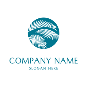 Tropical Summer and Coconut Tree Leaf logo design