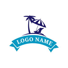 Tropical Tree and Beach Umbrella logo design