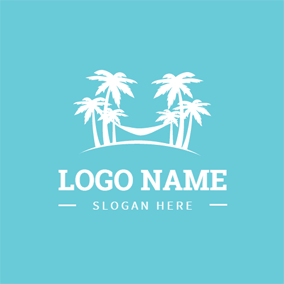 Tropical Tree and Hammock logo design