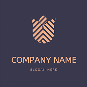 Tulip With Stripe Logo logo design