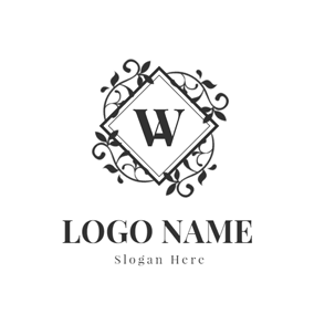 Twining Vine and Letter W Monogram logo design