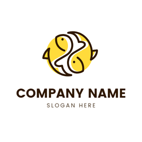 Two Yellow Fishes Pisces Sign logo design