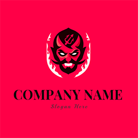 Unique Fire and Fearful Devil logo design